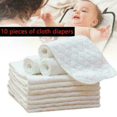 10PCS Cotton Cloth Baby Diapers Inserts Liners 3 Layers Newborn Nappy Reusa E2Q2