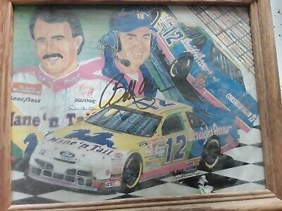 Bobby Allison Signed 8 X 10 Autographed NASCAR #12 Straight Arrow team Framed