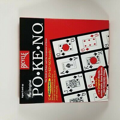 Pokeno Too Po-Ke-No 2 12 Jumbo Game Boards NEW CARDS BLUE BOX Bicycle
