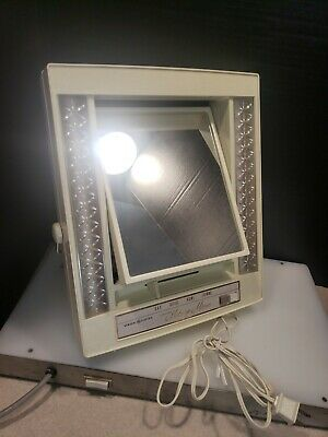 Vtg 70's General Electric GE 2 Sided Make Up Mirror 4 Light Settings Magnified