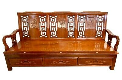 Asian Chinese Carved Mahogany Bench Settee Expandable Daybed Sofa