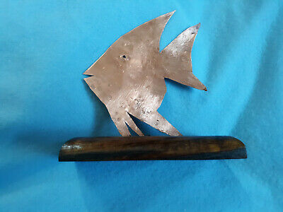Copper Fish Sculpture on a Wooden Base