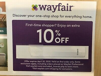 Wayfair Code 10% Off First Order Exp 4/30/20 FreeDelivery