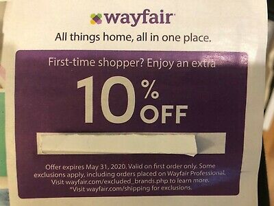 Wayfair Code 10% Off First Order Exp 5/31/20 FreeDelivery