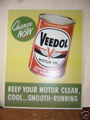 1950'S(2) Pair 1950'S Veedol Oil Car And Can One Each Cardboard Window  Sign