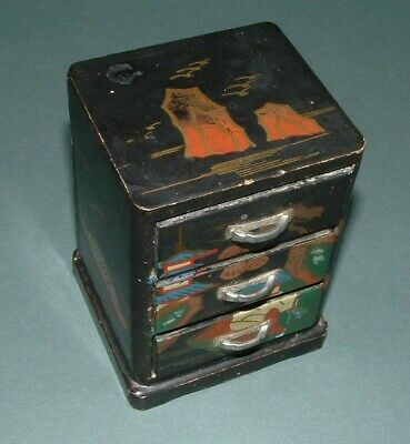 Oriental Themed Wood Trinket Box, Depoe Bay Oregon Souvenir - Used Condition