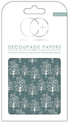 Craft Consortium Premium Decoupage Papers - Silver Trees. Free Delivery