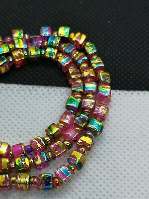 String Pink Glass 4mm Drawbench Cube Beads With Gold And Blue Drizzle (MYDB 13)
