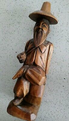 Vintage Asian Oriental Korean Bearded Man Carved Wooden Figurine / Ornament