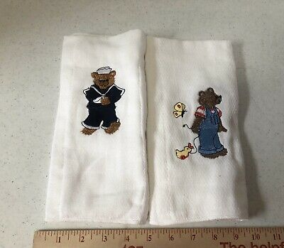 Baby Burp Cloths Embroidered Cute Bears, Set of  2, New