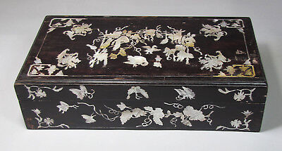 A Fine Chinese Mother of Pearl Inlaid Black Lacquered Box: 19th C.