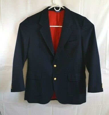 Vintage Mens Pendleton Size 44 Long Navy Blazer Jacket 100% Pure Virgin Wool
