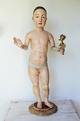 18th Century, Life-Size Jesus Christ Child Figure, Articulated Carved Wood Doll