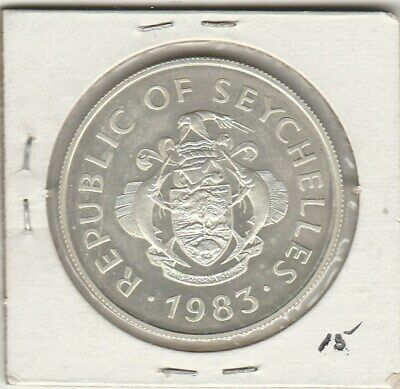 SEYCHELLES 1983 CENTRAL BANK 5th ANNIV SILVER   UNC  20 RUPEES proof like
