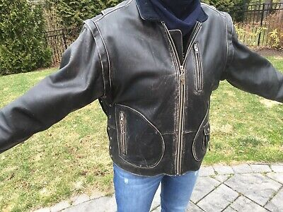 Vintage Harley Davidson Mens LARGE 90's PANHEAD Leather Jacket Converts to Vest