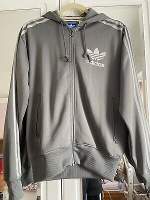 Silver Grey Adidas Originals Zip Hoody With Long Sleeves And Stripes Uk S