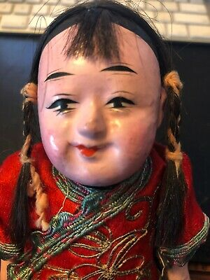ANTIQUE CHINESE ASIAN HANDMADE COMPOSITION PAPER MACHE DOLL Rare