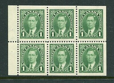 CANADA Scott 231b - NH - 1¢ Green King George VI Mufti Booklet Pane of 6 (.040)
