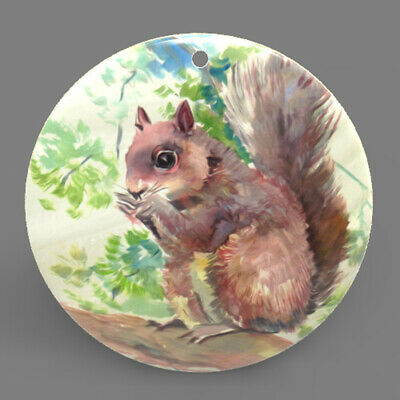 Mother of Pearl Shell Squirrel Color Printing Pendant Necklace J1705 0418