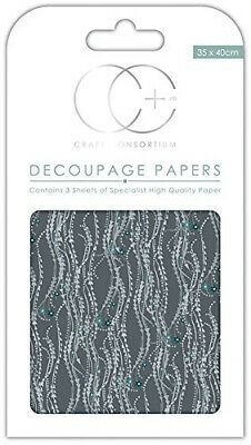 Craft Consortium Premium Decoupage Papers - Silver Decal. Delivery is Free