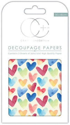 Craft Consortium Premium Decoupage Papers - Watercolour Hearts. Shipping is Free