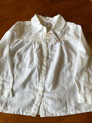 Girls White Dress Shirt Size 5 New With Tags Gorgeous