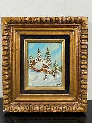 Signed Barnet Winter Time Snowy Ski Lodge Cabin Miniature Oil Painting