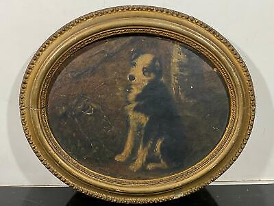 Antique Painted Portrait of Young Puppy Dog On Salvaged Oval Wooden Panel