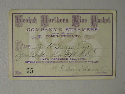 1875 Keokuk Northern Line Packet Company Steamboat Pass - Railroad Related