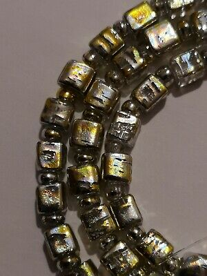 String Of Clear Drawbench 4mm Cube Beads With Gold And Silver Drizzle (MYDB 16)
