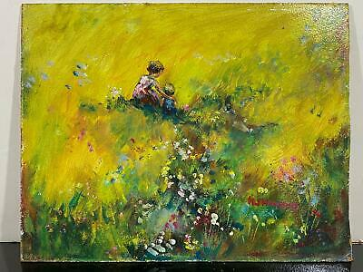Signed HOPKINS Impressionist Girls Sitting In Flower Meadow Landscape Painting
