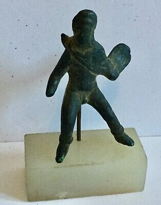 Ancient Roman Bronze with Quiver - Mounted Marble Base - Authentic Ancient