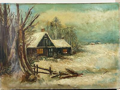 Signed HUBER Snowy Cabin Landscape Winter Scene Oil Painting On Canvas