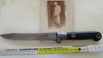 German Soldiers  WW I Time Original Photocard with Kampfmesser from same