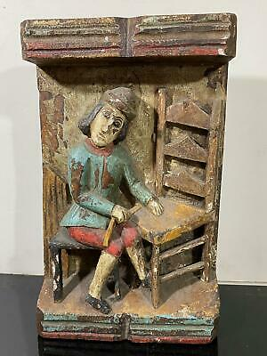 Antique Carved Primitive Folk Art 3D Figure Sitting In Chair