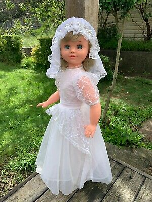 Large Pretty 65cm Tall Vintage Bride Doll Estrela Brazil Ash Blonde Blue Eyes