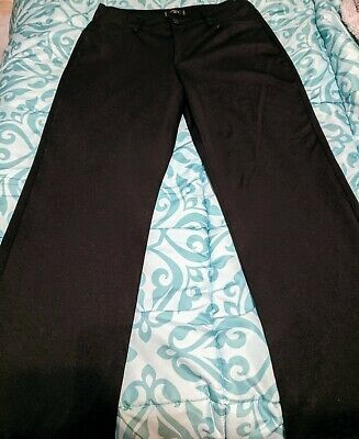 Lee Riders Petite Womens 12P Stretch Solid Black Straight Leg Soft Knit Pants