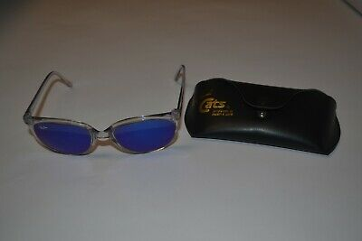 Vintage Ray Ban Bausch & Lomb G15 Blue Mirror Cats 1000 Clear Frame w/Case