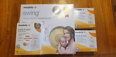 Brand New Medela Swing Single Electric Breast Pump in Box 3 x Pump and Save Bags