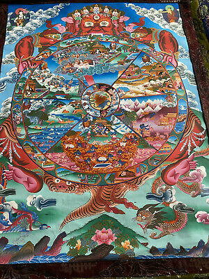 Buddhist Wheel of Life Silk Brocade Thangka