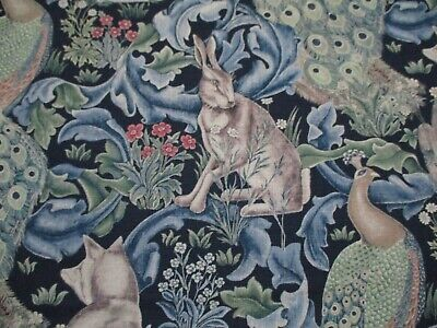 WILLIAM MORRIS Curtain/Upholstery Fabric 'FOREST' 1.3 METRES INDIGO Linen Blend