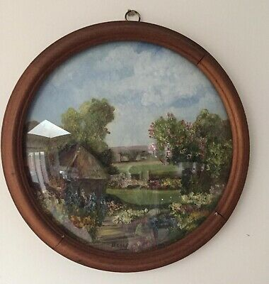 Early 20th Century framed plaster landscape artwork, signed and dated