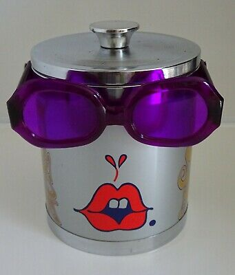 Vintage psychedelic Peter Max abstract Pop Art Ice bucket  60's with glasses