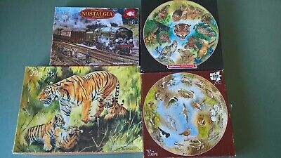 Collection of 4 Jigsaw Puzzles all missing a piece, Waddingtons, Birds, Train,