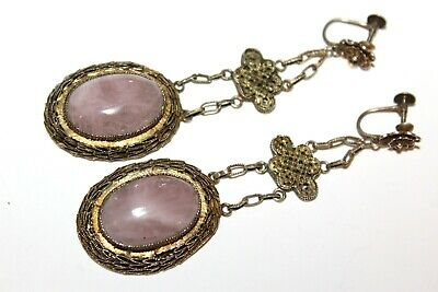 "Antique Chinese Export Vermiel Rose Quartz Long 3"" Dangle Earrings"
