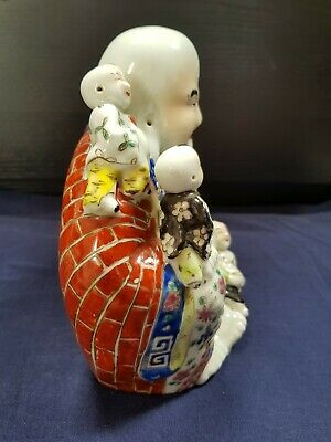 Stunning Antique Chinese Famille Rose Porcelain Laughing Buddha 200mm high
