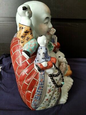 """Huge13"""" Antique Chinese Famille Rose Porcelain Laughing Buddha 340mm high"""