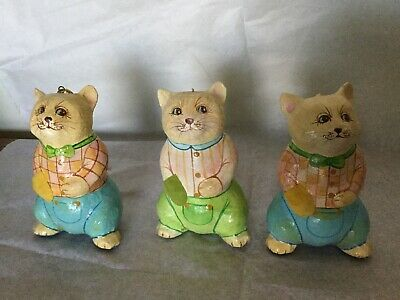 Tempest By Shafford Vtg 1986 Paper Mache 3 Cat Ornaments