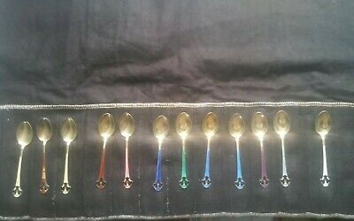 Set of 12 Enamel Sterling Silver 925 Norne Norway Demitasse Spoons Many Colors