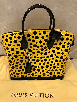 Yayoi Kusama Louis Vuitton Dots Infinity Lockit MM 100% AUTHENTIC! Black Yellow
